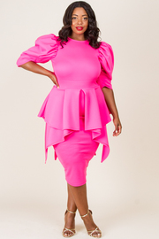 PLUS SIZE PUFFED SLEEVE MIDI DRESS