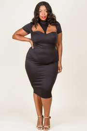 MOCK NECK SEXY BODY FITTED DRESS
