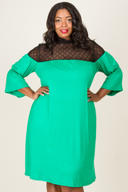 MOCK NECK WITH LACE YOKE SHIRRING POINT SOLID DRESS