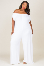 PLUS SIZE OFF SHOULDER WITH POCKET COMFORTABLED JUMPSUIT