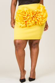 PLUS SIZE  FLOWER POINTED MINI SKIRT