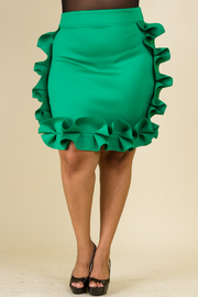 PLUS SIZE SIDE AND EDGE RUFFLED SOLID SKIRT