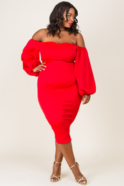 PLUS SIZE OFF SHOULDER LONG SLEEVE FITTED DRESS