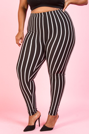 PLUS SIZE STRIPE LEGGINGS