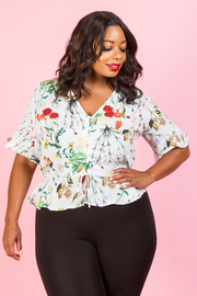 PLUS SIZE FLORAL SHORT SLEEVE TOP