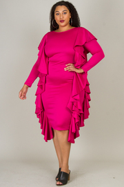 """""""PLUS SIZE ROUND NECK LONG SLEEVE WITH SID RUFFLED MIN DRESS """""""