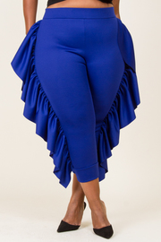 PLUS SIZE SIDE RUFFLED PANTS