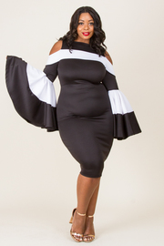 """PLUS SIZE COLD SHOULDER BLACK AND WHITE FOMALLY DRESS """