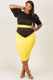 """PLUS SIZE ROUND NECK PUFFED SLEEVE COLOR BLOCK FITTED DRESS """