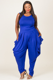 """""""PLUS SIZE ROUND NECK SLEEVELESS FRONT PLEAT DRAPED JUMPSUIT WITH POCKET """""""
