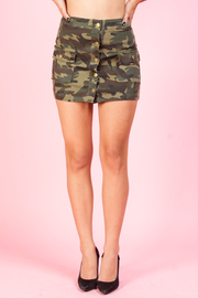 CAMO FRONT BUTTON MINI SKIRTS