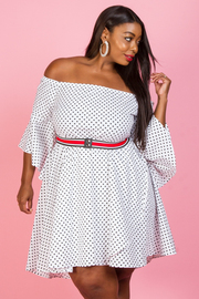 PLUS SIZE DOT PATTERN MINI DRESS
