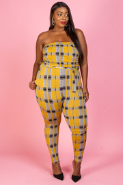 PLUS SIZE CHECK PATTERN JUMPSUITS