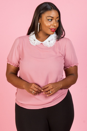 PLUS SIZE PETER PAN COLLAR SHORT SLEEVE TOP