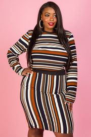 PLUS SIZE STRIPE TOP AND SKIRTS SET