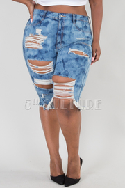 PLUS SIZE DESTROYED DENIM BERMUDA SHORTS
