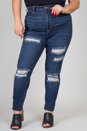 PLUS SIZE DESTROYED SKINNY DENIM