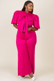 PLUS SIZE PUFFED SLEEVE JUMPSUITS