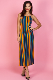 STRIPE SLEEVELESS LONG DRESS
