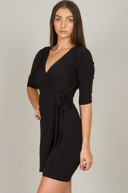 Half SLEEVE MINI WRAP DRESS