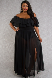 PLUS SIZE SHORT SLEEVE ROMPER WITH MAXI DRESS