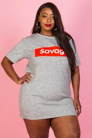 PLUS SIZE Savage Print Short Sleeve Tunic Dress