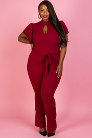 PLUS SIZE LAYERED SHORT SLEEVE JUMPSUITS