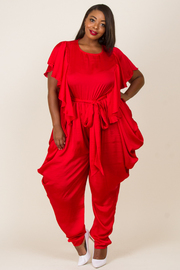 PLUS SIZE RUFFLE POINT JUMPSUITS