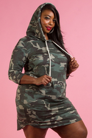 PLUS SIZE HOODIE MINI DRESS