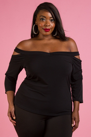 PLUS SIZE OFF SHOULDER 3/4 SLEEVE TOP