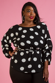 PLUS SIZE DOT BACK RIBBON LONG SLEEVE TOP