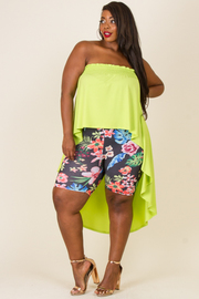PLUS SIZE UNBALANCED TOP AND PANTS SET