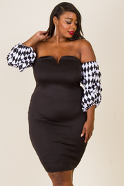 PLUS SIZE OFF SHOULDER BUST FITTED MINI DRESS