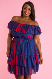 PLUS SIZE OFF SHOULDER  LAYERED MINI DRESS