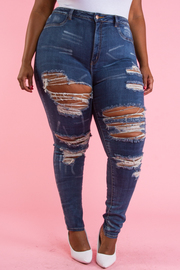 PLUS SIZE DESTROYED DENIM JEANS