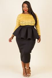 PLUS SIZE LACE TOP AND MIDI DRESS