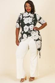 PLUS SIZE FLOWER TOP AND PANTS SET