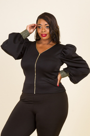 PLUS SIZE BALLOON LONG SLEEVE TOP