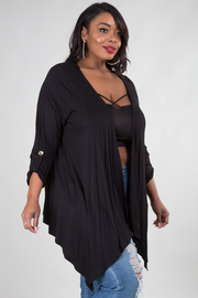 Plus Size 3/4 Sleeved Jersey Open Cardigan