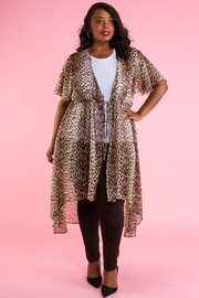 PLUS SIZE SHORT SLEEVE MESH CARDIGANS