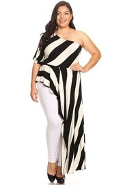 PLUS SIZE STRIPE ONE OFF SHOULDER TOP