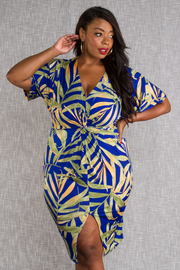 PLUS SIZE FRONT SLIT MIDI DRESS