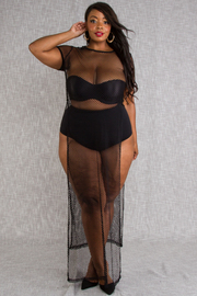 PLUS SIZE MESH COVERUP SHORT SLEEVE LONG TOP