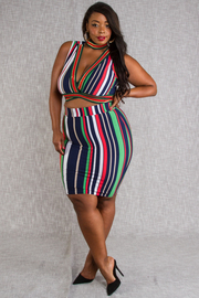 PLUS SIZE TOP AND SKIRT SET
