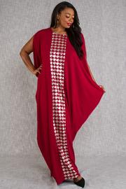 PLUS SIZE FOIL PRINT KIMONO INSPIRED LONG DRESS