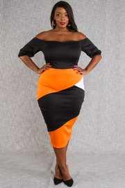 PLUS SIZE OFF SHOULDER MIDI FITTED DRESS