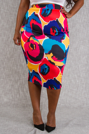 PLUS SIZE COLORFUL PRINTED BASIC SKIRT