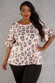 PLUS SIZE ANIMAL PRINTED SHORT SLEEVE TOP