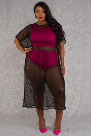 PLUS SIZE TOP AND BOTTOM AND COVERUP SET