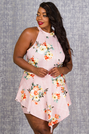 PLUS SIZE HALTER ROMPER WITH SKIRTS